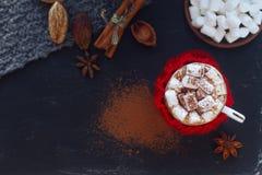 Hemlagad varm choklad för jul med marshmallowen, kanel och kryddor på mörk bakgrund, bästa sikt Arkivbild