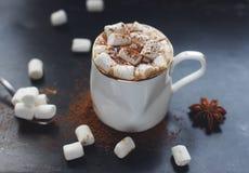 Hemlagad varm choklad med marshmallowen, kanel och kryddor på mörk bakgrund, selektiv fokus som tonas Dri för jul eller för nytt  Arkivfoton