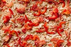 Hemlagad vegetarisk pizza med röda spanska peppar, tomater och ost royaltyfria bilder