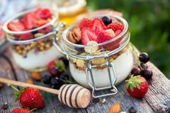 Hemlagad yoghurt med bär i delkrus royaltyfri foto