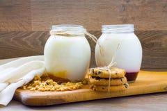 Hemlagad yoghurt med bär och kex royaltyfri bild