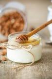 Hemlagad yoghurt med honung och muttrar arkivfoton