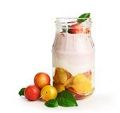 Hemlagad yoghurt med körsbärsröda plommoner Arkivbilder