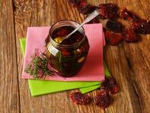Hemlagade antipasti med torkade tomater Fotografering för Bildbyråer