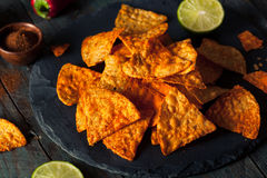 Hemlagade Chili Lime Tortilla Chips Royaltyfria Bilder
