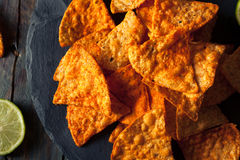 Hemlagade Chili Lime Tortilla Chips Arkivbild