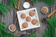 Hemlagade choklad-karamell tryfflar Arkivbild
