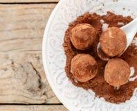 Hemlagade chokladtryfflar med kakaopulver på en vit platta Arkivfoto
