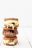 Hemlagade citron- och chokladglasssmörgåsar Arkivbilder