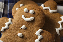 Hemlagade dekorerade kakor för pepparkakamän Arkivbild