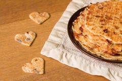 Hemlagade dillandear med stekt lökar, champignons och ost Royaltyfria Foton
