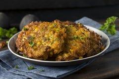 Hemlagade Fried Corn Fritter arkivfoto