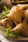 Hemlagade Fried Indian Samosas Arkivbilder