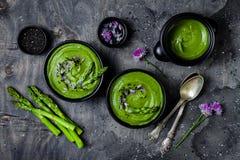 Hemlagade gröna vårsparriers lagar mat med grädde soppa som dekoreras med svart sesamfrö, och ätliga gräslökar blommar royaltyfri bild