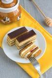Hemlagade Honey Cake Slices Arkivbilder