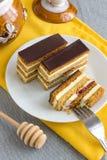 Hemlagade Honey Cake Slices Royaltyfria Foton