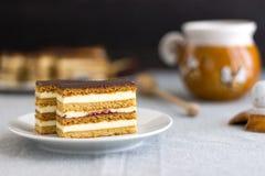 Hemlagade Honey Cake Slices Royaltyfri Fotografi