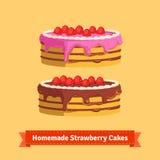 Hemlagade jordgubbekakor stock illustrationer
