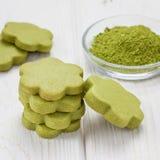 Hemlagade kakor för mördegskaka för grönt te för matcha, fyrkant Royaltyfri Bild
