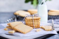 Hemlagade kakor för vaniljsmörmördegskaka och att mjölka arkivbilder