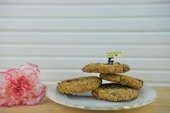 Hemlagade kakor med den rosa nejlikan blommar och ord för moderdag Royaltyfri Fotografi