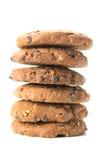 Hemlagade kakor med stycken av verkliga choklad och hasselnötter Fotografering för Bildbyråer