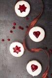 Hemlagade kakor med tranbärdriftstopp Top beskådar royaltyfri bild