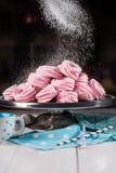 hemlagade marshmallows Rosa marshmallower Hemlagade sötsaker Royaltyfri Foto
