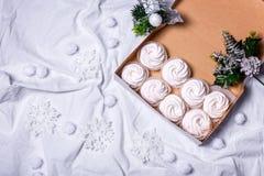 hemlagade marshmallows zephyr på vit textillebakgrund Royaltyfria Bilder