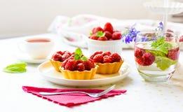 Hemlagade mini- tarts med hallonfrukter arkivbilder