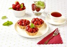 Hemlagade mini- tarts med hallonfrukter royaltyfri bild