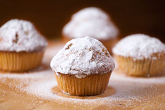 Hemlagade muffin på ett träbräde Royaltyfri Foto