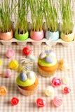 Hemlagade muffiner för påsk Arkivfoto