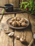 Hemlagade organiska champinjoner Royaltyfri Foto