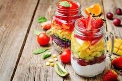 Hemlagade regnbågesallader med grönsaker, quinoa, grekisk yoghurt royaltyfri foto
