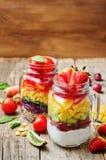 Hemlagade regnbågesallader med grönsaker, quinoa, grekisk yoghurt royaltyfria foton