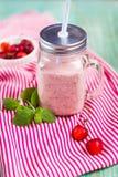 Hemlagade rosa nya körsbärsröda smoothies royaltyfri bild