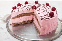 Hemlagade söta Cherry Cake Arkivbild