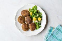 Hemlagade Salmon Meatballs Served med orange sallad arkivbild