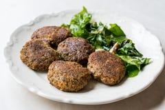 Hemlagade Salmon Meatballs Served med orange sallad arkivfoton