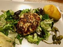 Hemlagade Salmon Meatballs Served med potatisar, avokadot och sallad i platta royaltyfria bilder