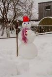 Hemlagade snögubbeställningar i vinter landskap att le på kameran Royaltyfri Foto