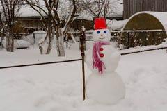 Hemlagade snögubbeställningar i vinter landskap att le på kameran Royaltyfri Bild