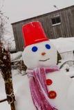 Hemlagade snögubbeställningar i vinter landskap att le på kameran Royaltyfria Foton