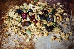 Hemlagade Sugar Free Granola med torkat - frukt Royaltyfri Foto