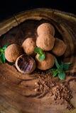 hemlagade tryfflar för choklad Arkivbilder