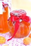 Hemlagat aprikosdriftstopp med mandlar Arkivbild
