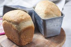 Hemlagat bröd i den stekheta maträtten Arkivfoton