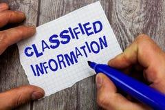 Hemlig information om handskrifttexthandstil Begrepp som betyder överkanten för känsliga data - hemligt obehörigt avslöjande arkivfoto