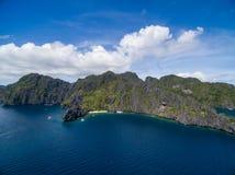 Hemlig lagun i El Nido, Palawan, Filippinerna Turnera a-rutten och förlägga Arkivbild